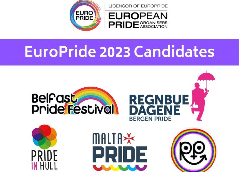 Belfast, Bergen, Hull, Malta and Rotterdam running for EuroPride 2023